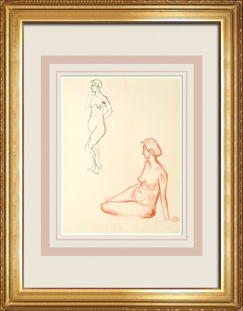 Gravures Anciennes & Dessins | Etude de Nu Féminin (Huber) 12/76 | Dessin | 1960