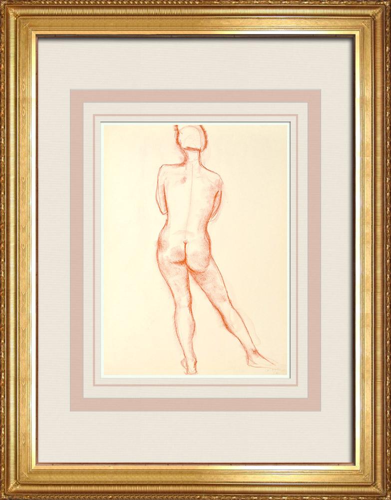 Gravures Anciennes & Dessins | Etude de Nu Féminin (Huber) 13/76 | Dessin | 1960