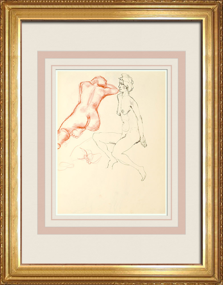 Gravures Anciennes & Dessins | Etude de Nu Féminin (Huber) 14/76 | Dessin | 1960