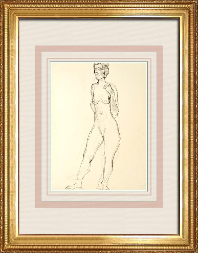 Gravures Anciennes & Dessins | Etude de Nu Féminin (Huber) 15/76 | Dessin | 1960