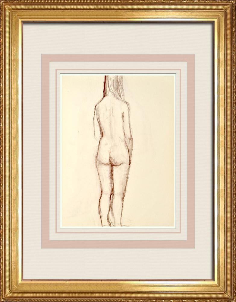 Gravures Anciennes & Dessins | Etude de Nu Féminin (Huber) 19/76 | Dessin | 1960
