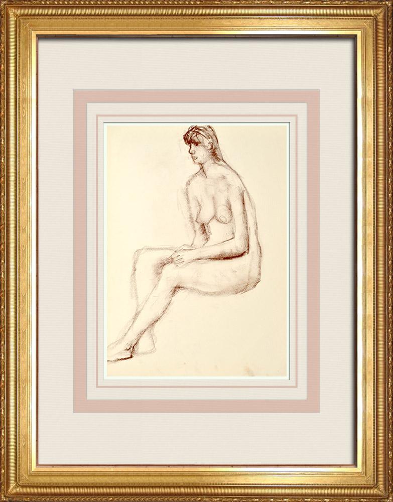 Gravures Anciennes & Dessins | Etude de Nu Féminin (Huber) 20/76 | Dessin | 1960
