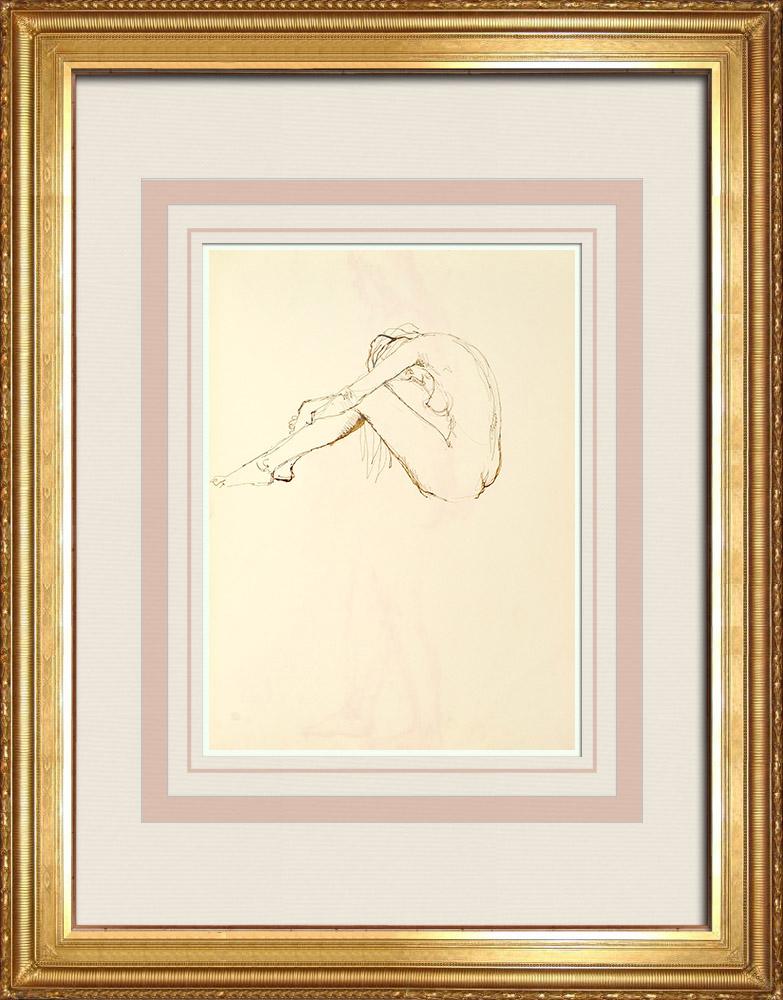 Gravures Anciennes & Dessins | Etude de Nu Féminin (Huber) 21/76 | Dessin | 1960