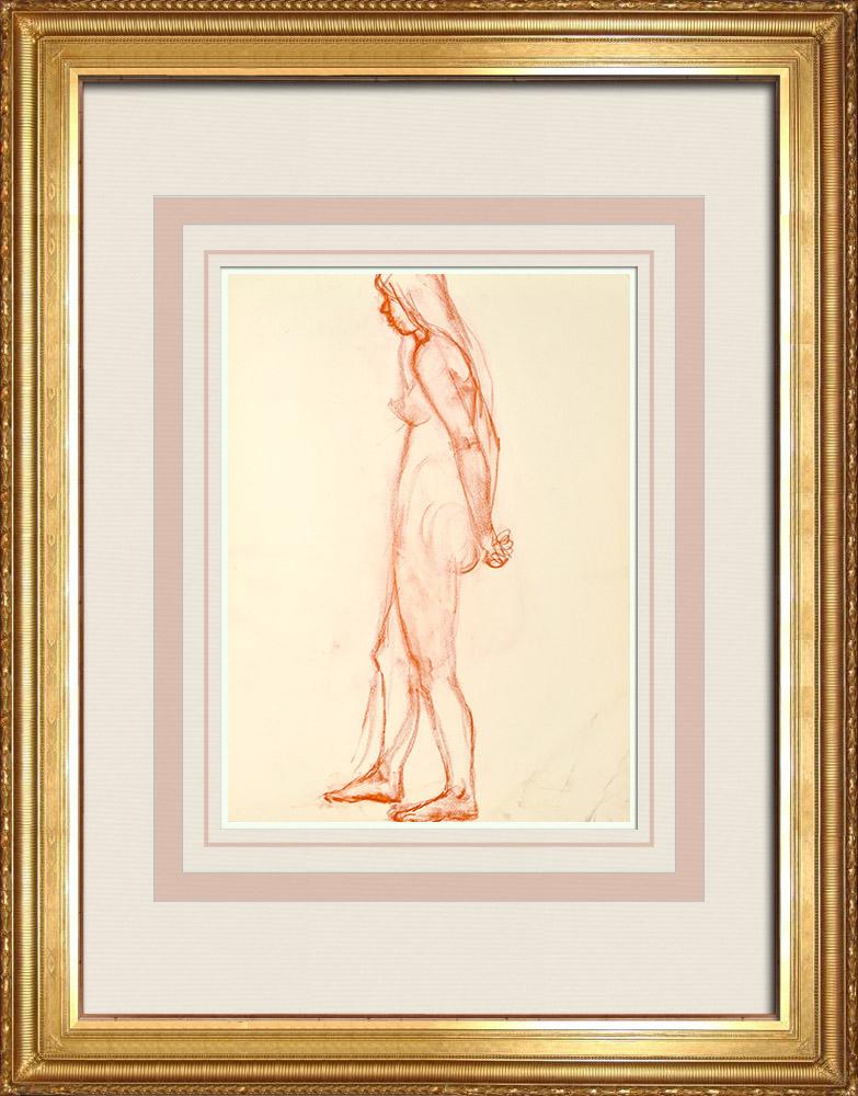Gravures Anciennes & Dessins   Etude de Nu Féminin (Huber) 22/76   Dessin   1960