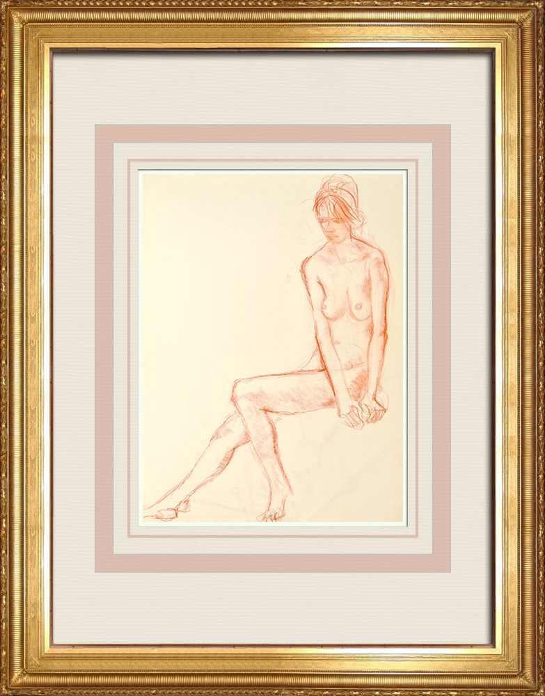 Gravures Anciennes & Dessins | Etude de Nu Féminin (Huber) 26/76 | Dessin | 1960