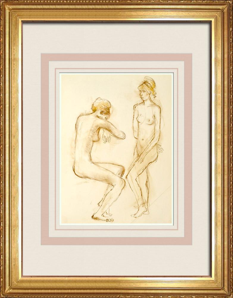 Gravures Anciennes & Dessins | Etude de Nu Féminin (Huber) 28/76 | Dessin | 1960