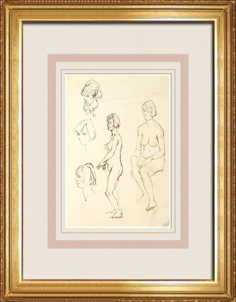Gravures Anciennes & Dessins   Etude de Nu Féminin (Huber) 29/76   Dessin   1960