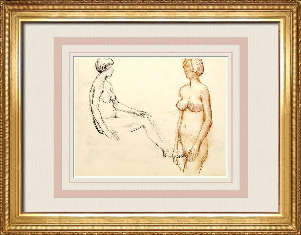 Gravures Anciennes & Dessins | Etude de Nu Féminin (Huber) 31/76 | Dessin | 1960