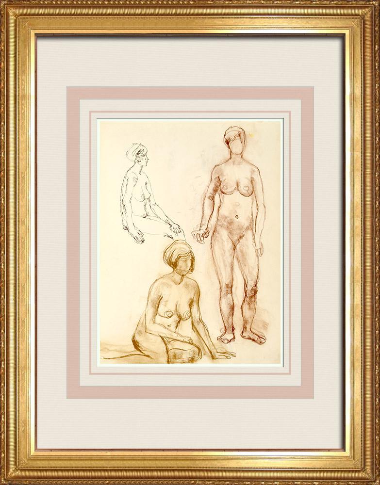 Gravures Anciennes & Dessins | Etude de Nu Féminin (Huber) 32/76 | Dessin | 1960