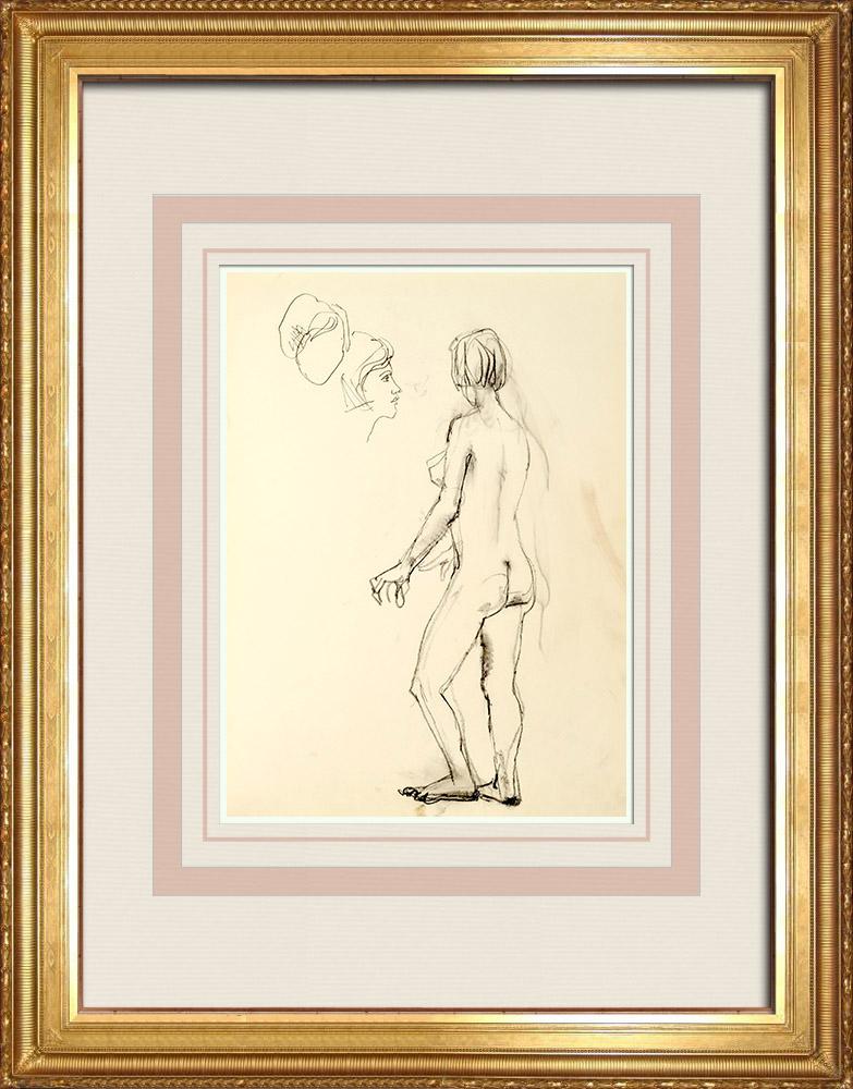 Gravures Anciennes & Dessins | Etude de Nu Féminin (Huber) 33/76 | Dessin | 1960