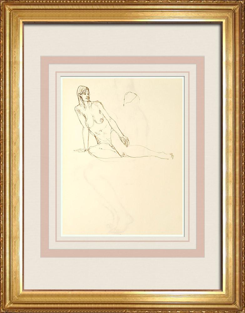 Gravures Anciennes & Dessins | Etude de Nu Féminin (Huber) 34/76 | Dessin | 1960