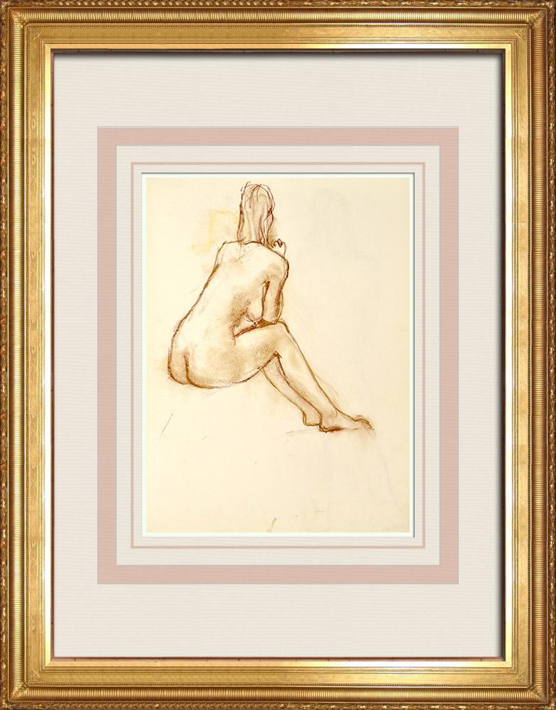 Gravures Anciennes & Dessins   Etude de Nu Féminin (Huber) 36/76   Dessin   1960