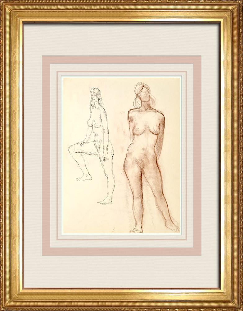 Gravures Anciennes & Dessins   Etude de Nu Féminin (Huber) 37/76   Dessin   1960