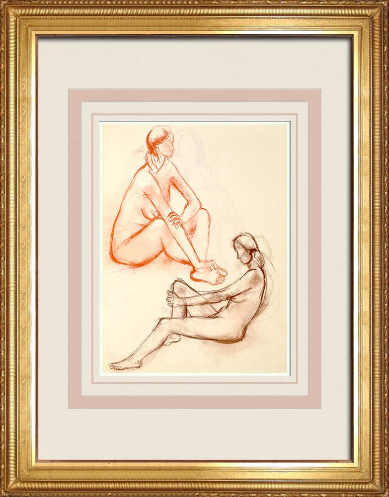 Gravures Anciennes & Dessins | Etude de Nu Féminin (Huber) 38/76 | Dessin | 1960