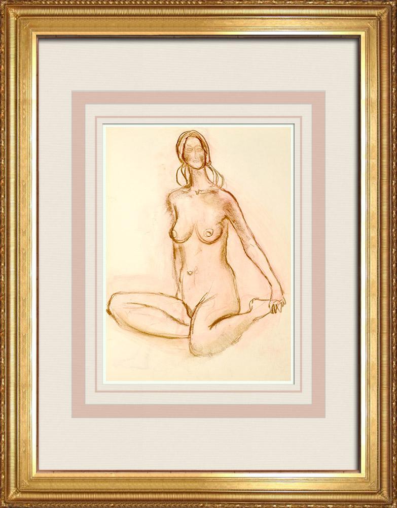 Gravures Anciennes & Dessins   Etude de Nu Féminin (Huber) 39/76   Dessin   1960