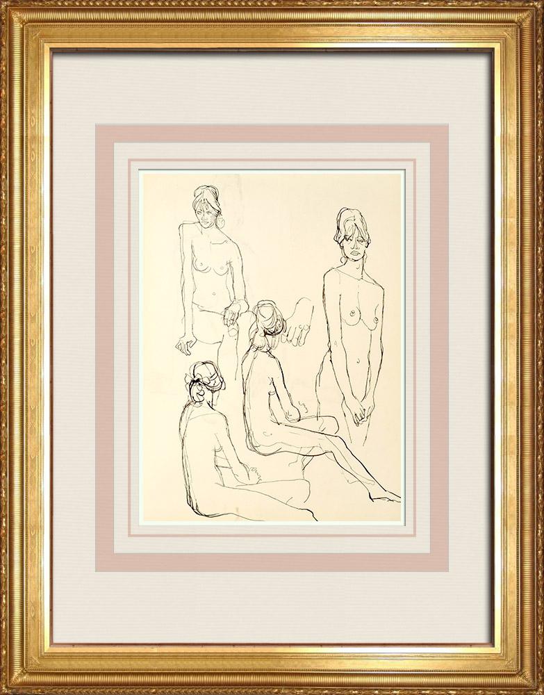 Gravures Anciennes & Dessins | Etude de Nu Féminin (Huber) 43/76 | Dessin | 1960