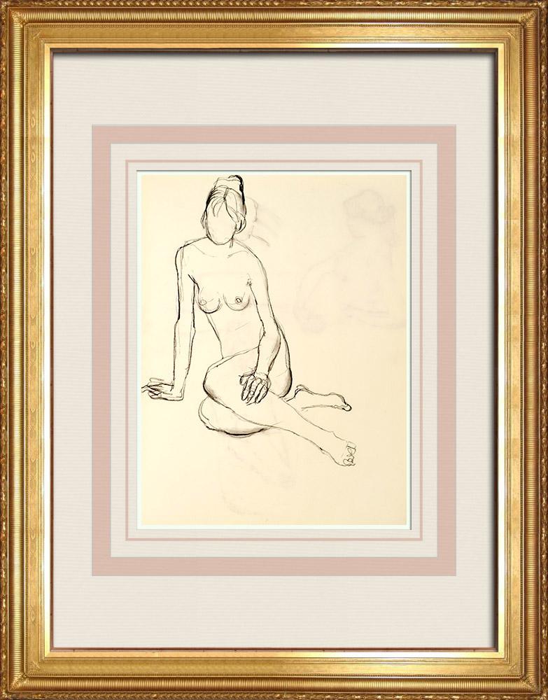 Gravures Anciennes & Dessins | Etude de Nu Féminin (Huber) 44/76 | Dessin | 1960