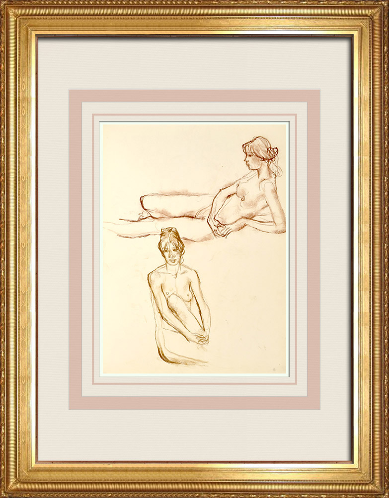 Gravures Anciennes & Dessins | Etude de Nu Féminin (Huber) 45/76 | Dessin | 1960