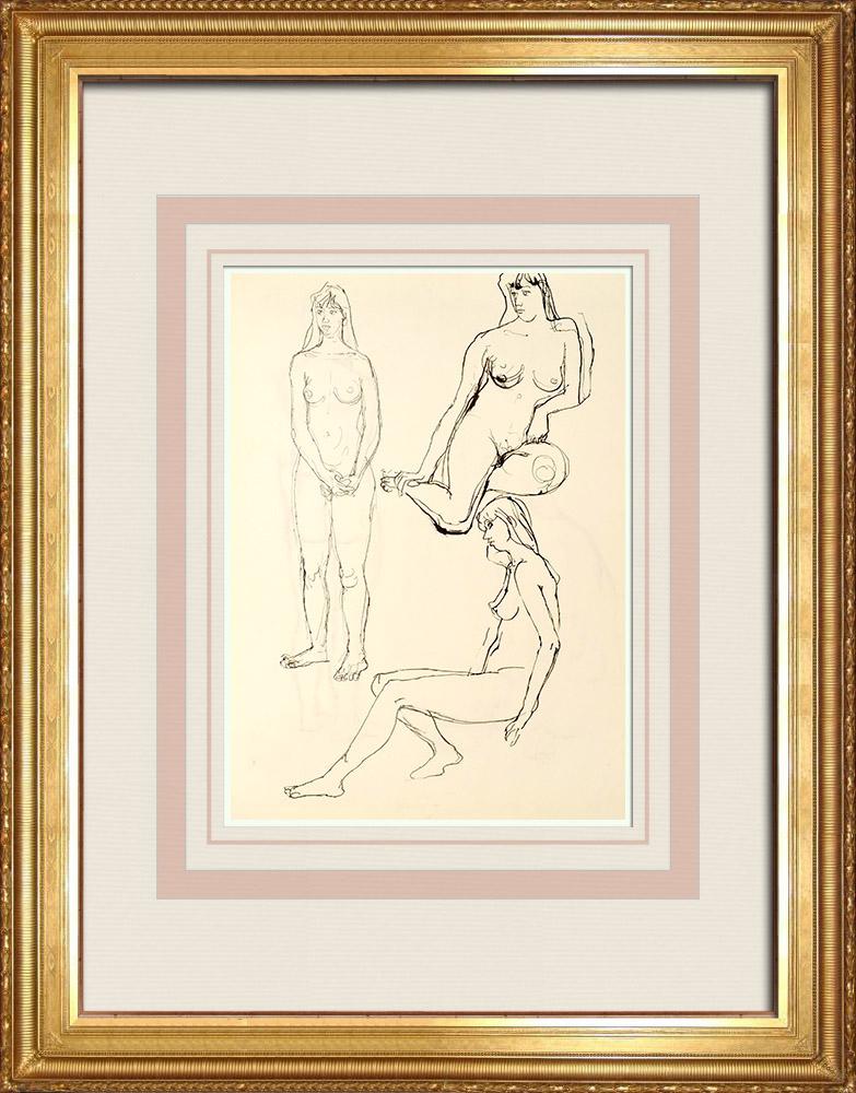 Grabados & Dibujos Antiguos | Estudio de Desnudo Femenino (Huber) 46/76 | Dibujo | 1960
