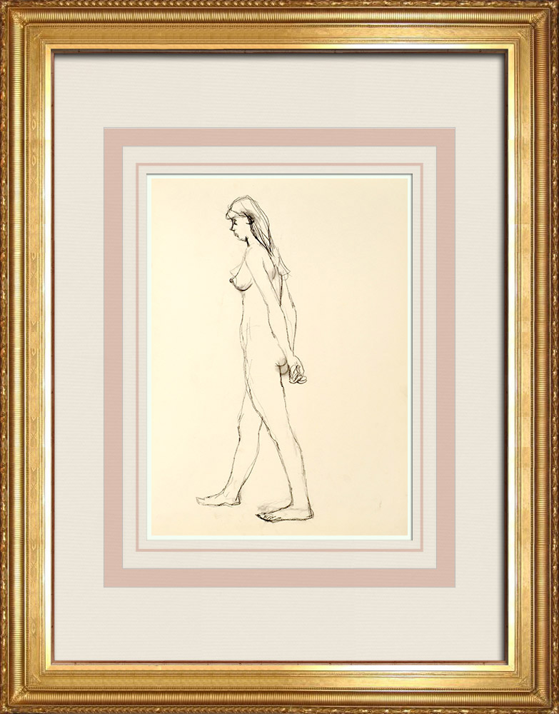 Gravures Anciennes & Dessins | Etude de Nu Féminin (Huber) 49/76 | Dessin | 1960