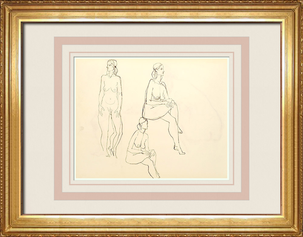 Grabados & Dibujos Antiguos | Estudio de Desnudo Femenino (Huber) 50/76 | Dibujo | 1960