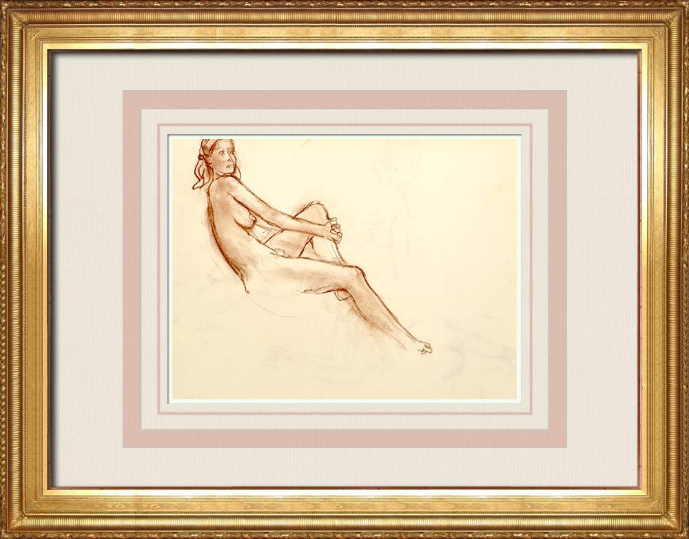 Gravures Anciennes & Dessins | Etude de Nu Féminin (Huber) 52/76 | Dessin | 1960