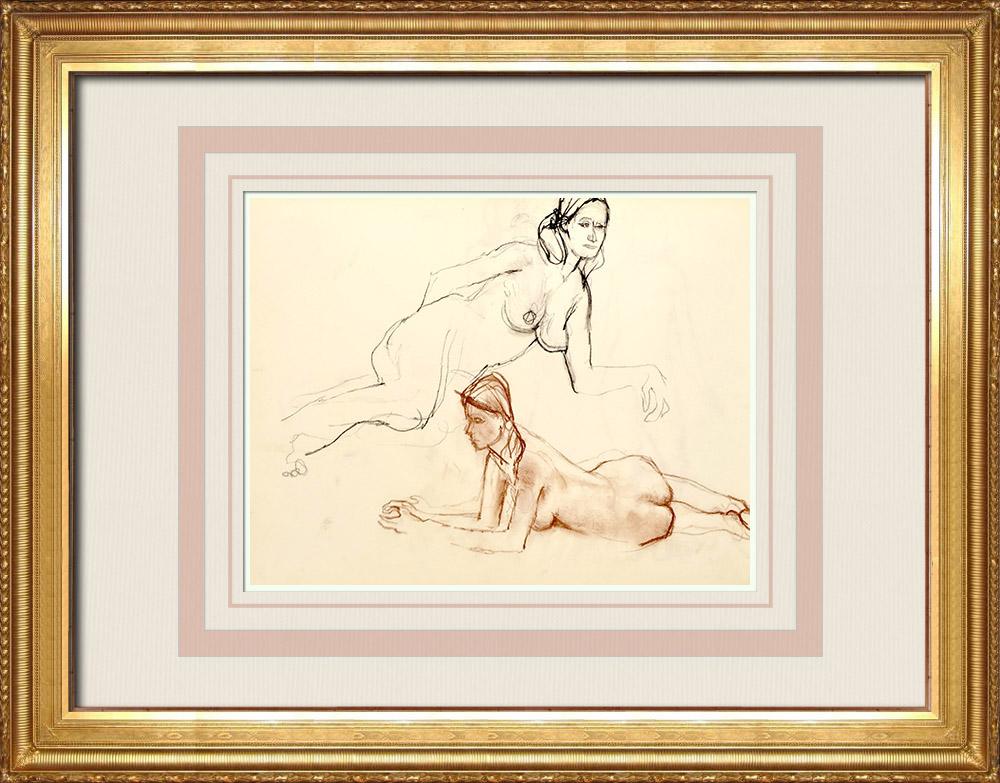 Grabados & Dibujos Antiguos   Estudio de Desnudo Femenino (Huber) 53/76   Dibujo   1960