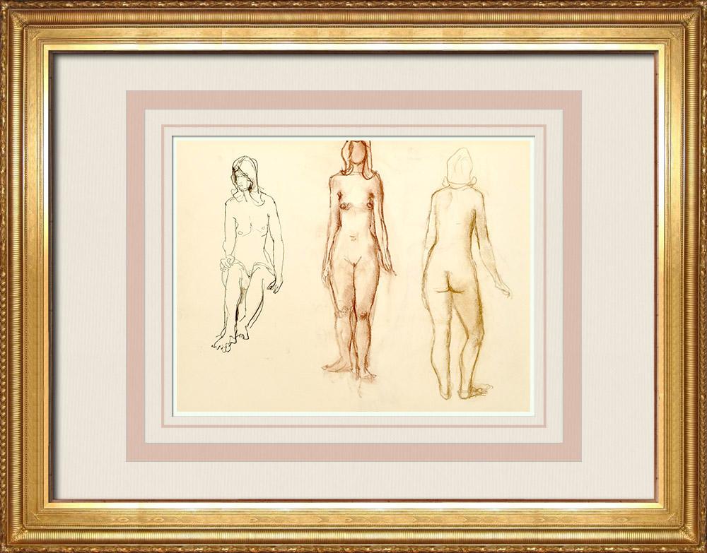Gravures Anciennes & Dessins | Etude de Nu Féminin (Huber) 54/76 | Dessin | 1960