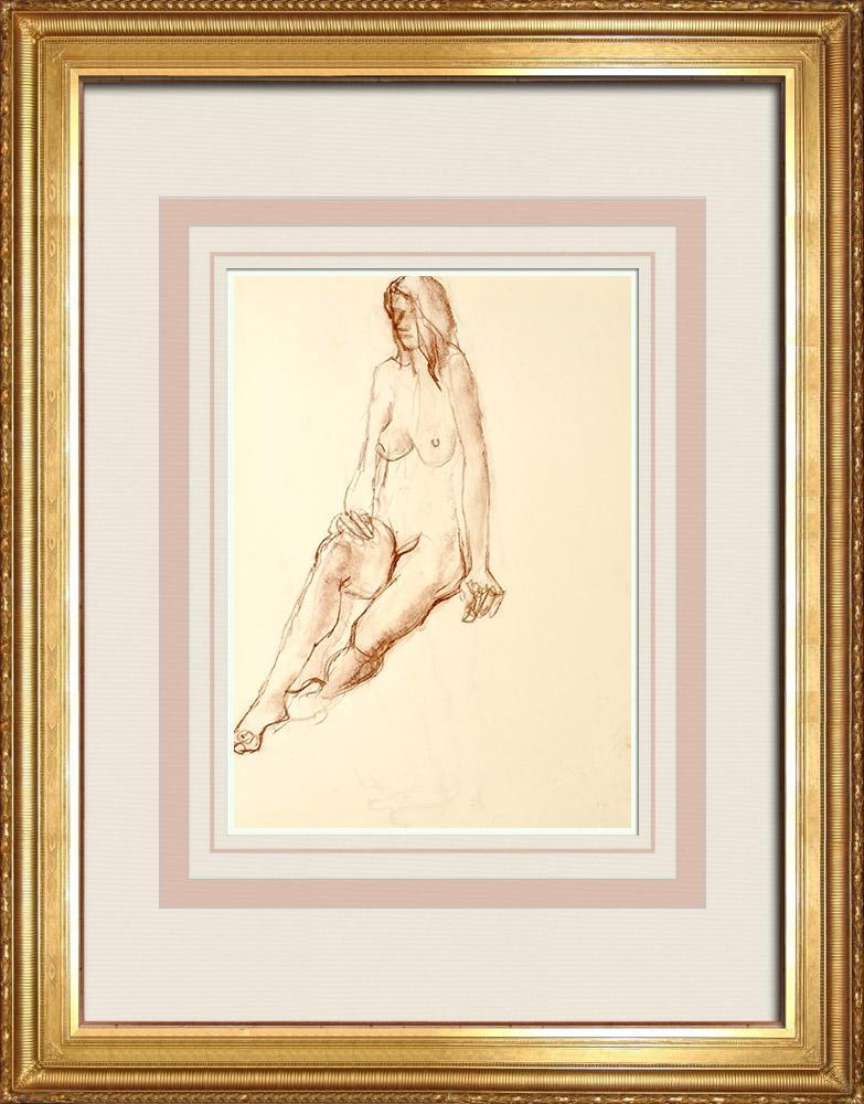 Gravures Anciennes & Dessins | Etude de Nu Féminin (Huber) 58/76 | Dessin | 1960