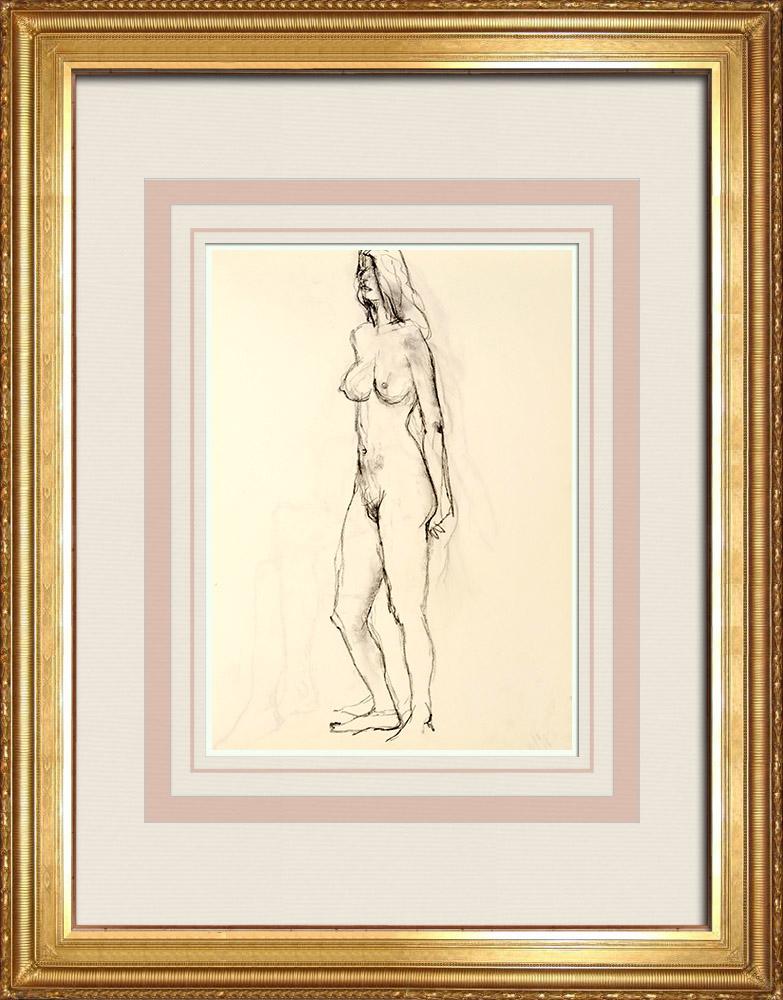 Grabados & Dibujos Antiguos | Estudio de Desnudo Femenino (Huber) 59/76 | Dibujo | 1960