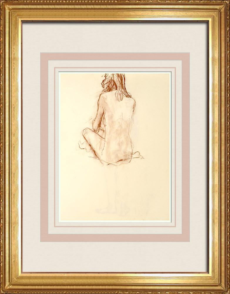 Grabados & Dibujos Antiguos | Estudio de Desnudo Femenino (Huber) 61/76 | Dibujo | 1960