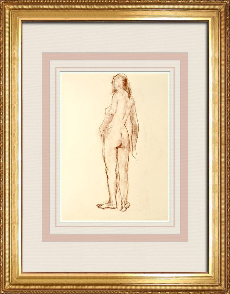 Grabados & Dibujos Antiguos | Estudio de Desnudo Femenino (Huber) 62/76 | Dibujo | 1960