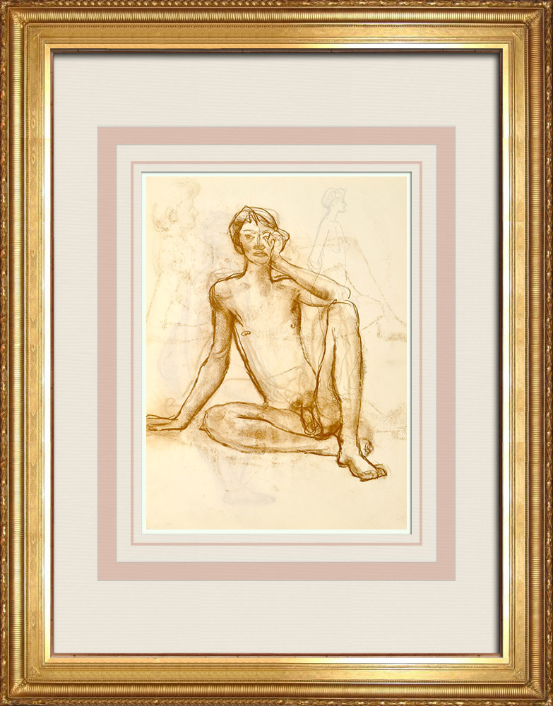 Gravures Anciennes & Dessins | Etude de Nu Féminin (Huber) 63/76 | Dessin | 1960
