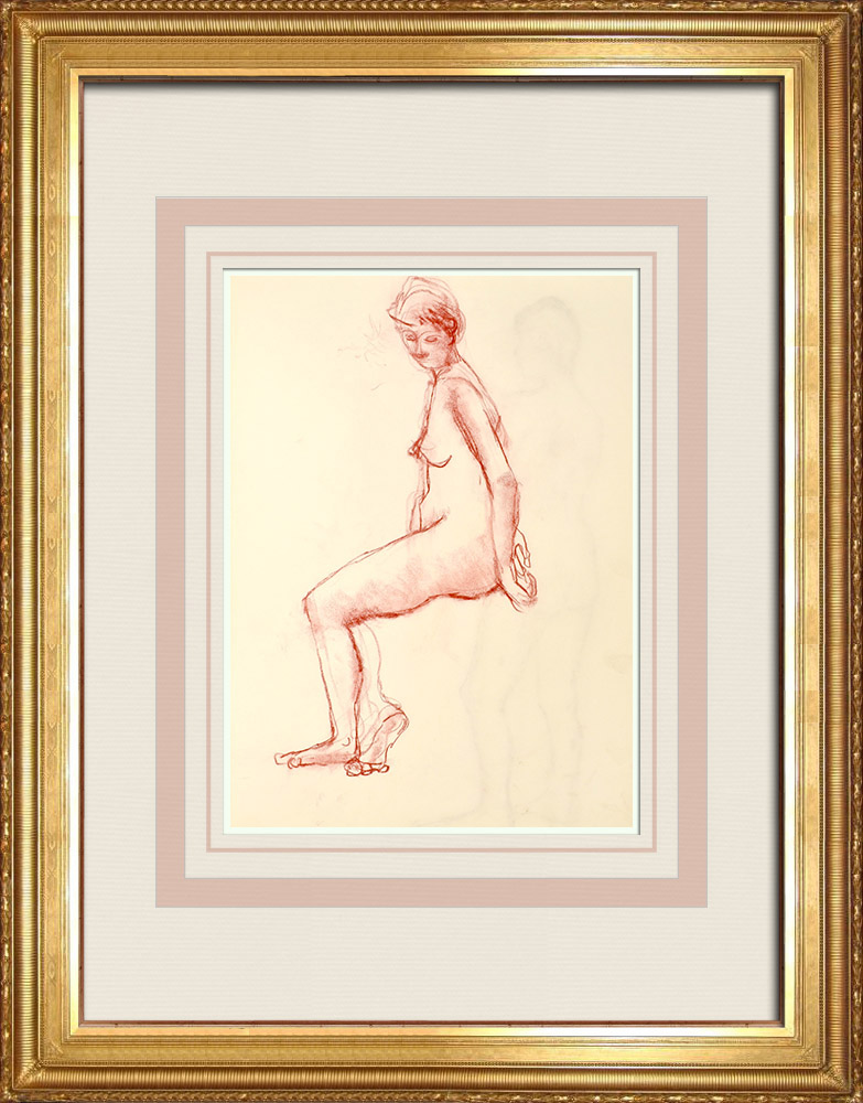 Grabados & Dibujos Antiguos | Estudio de Desnudo Femenino (Huber) 66/76 | Dibujo | 1960