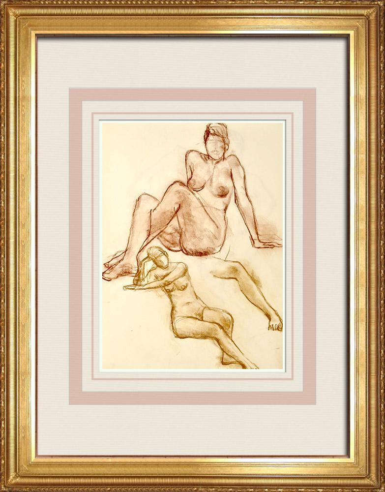 Gravures Anciennes & Dessins | Etude de Nu Féminin (Huber) 68/76 | Dessin | 1960