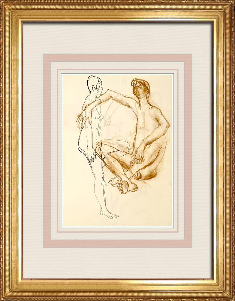 Gravures Anciennes & Dessins   Etude de Nu Féminin (Huber) 69/76   Dessin   1960