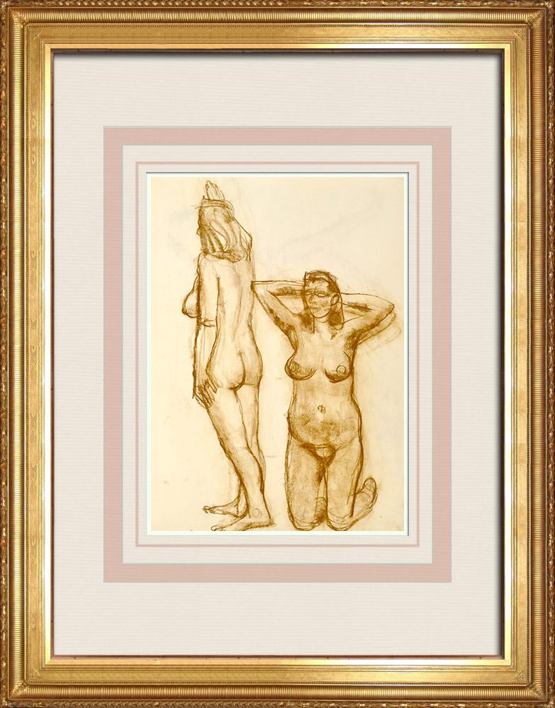 Gravures Anciennes & Dessins   Etude de Nu Féminin (Huber) 72/76   Dessin   1960