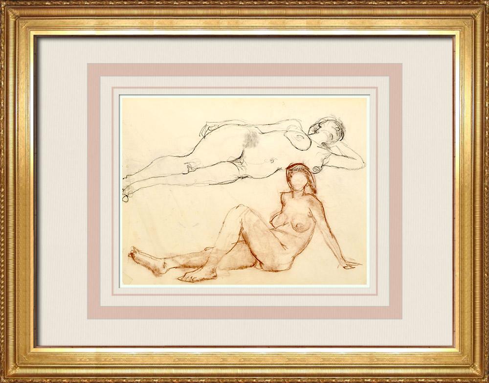 Gravures Anciennes & Dessins | Etude de Nu Féminin (Huber) 73/76 | Dessin | 1960