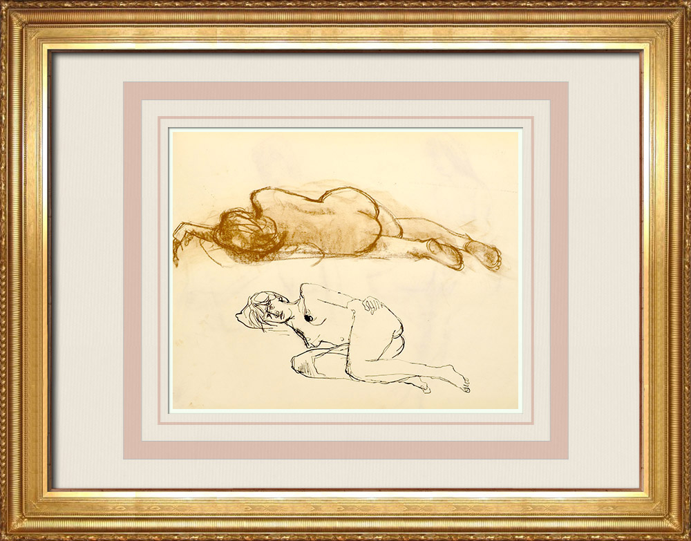 Gravures Anciennes & Dessins   Etude de Nu Féminin (Huber) 74/76   Dessin   1960