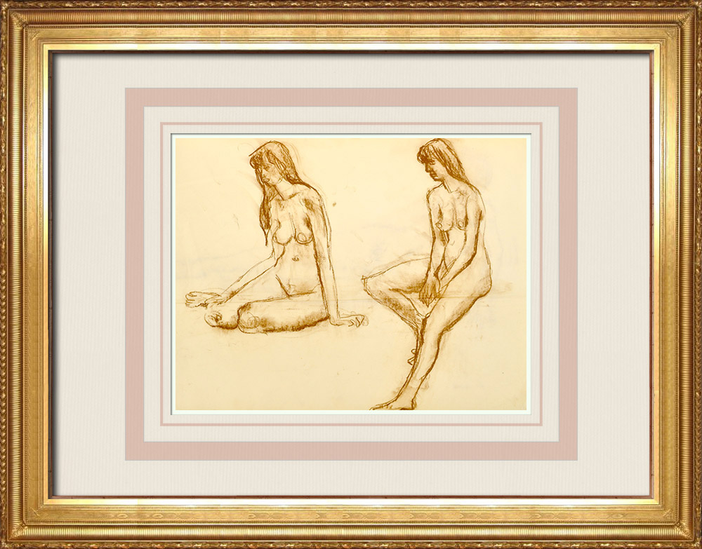 Antique Prints & Drawings | Female Nude Study (Huber) 75/76 | Drawing | 1960