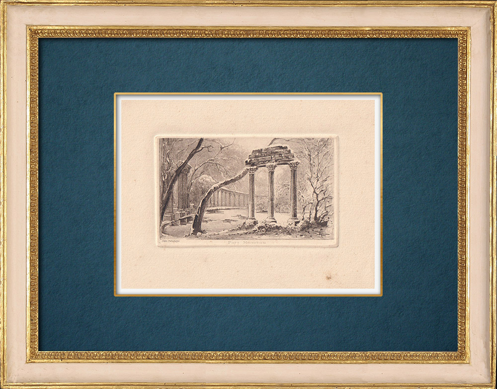 Gravures Anciennes & Dessins   Vue de Paris - Parc - Jardin - Le Parc Monceau   Gravure à l'eau-forte   1910