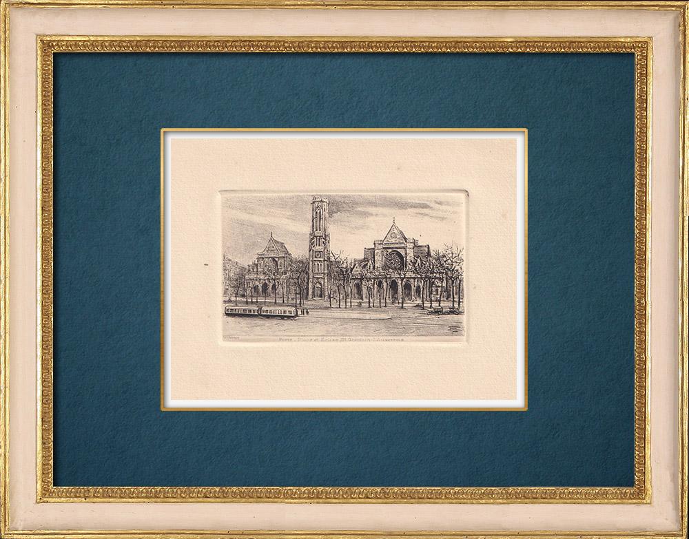 Gravures Anciennes & Dessins | Vue de Paris - Eglise Saint Germain l'Auxerrois | Gravure à l'eau-forte | 1910