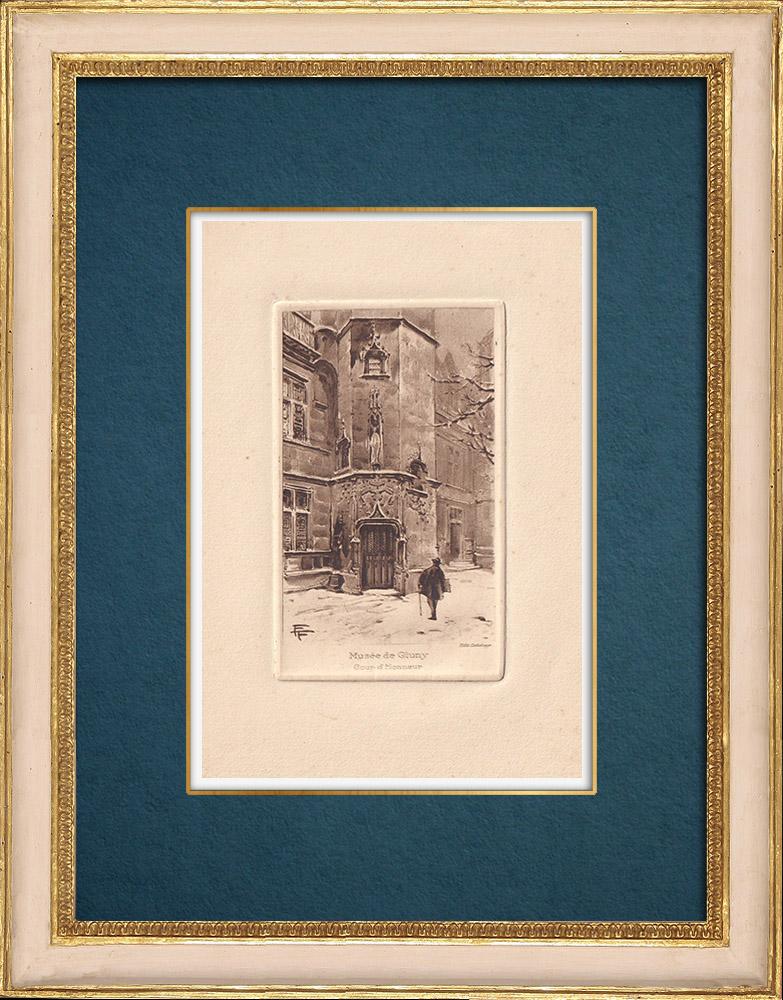 Grabados & Dibujos Antiguos   Vista de París - Hôtel de Cluny - Museo de Cluny   Grabado al aguafuerte   1910