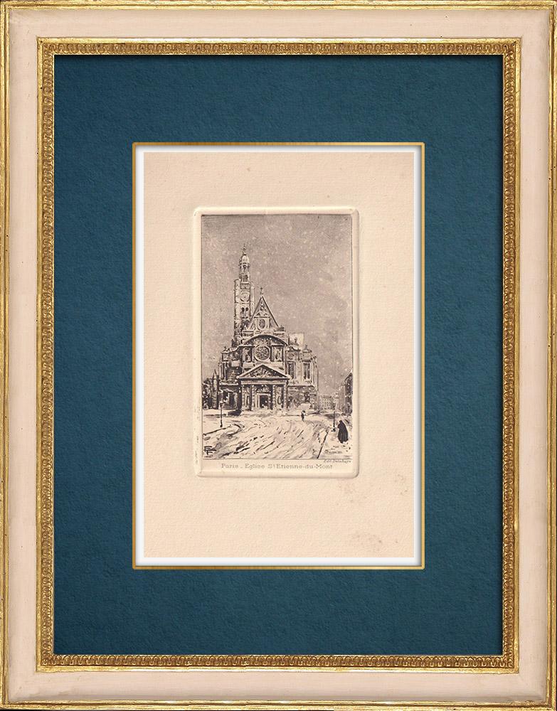 Gravures Anciennes & Dessins | Vue de Paris - Eglise Saint Étienne du Mont | Gravure à l'eau-forte | 1910