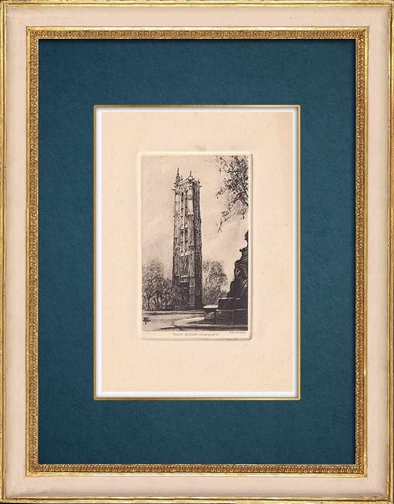Gravures Anciennes & Dessins | Vue de Paris - Tour Saint-Jacques | Gravure à l'eau-forte | 1910
