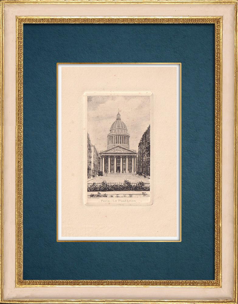 Gravures Anciennes & Dessins | Vue de Paris - Le Panthéon - Fronton - Dôme | Gravure à l'eau-forte | 1910