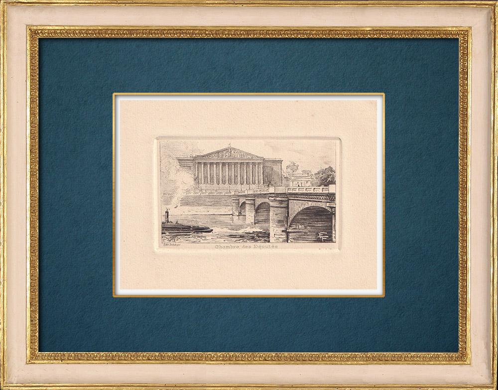 Gravures Anciennes & Dessins   Vue de Paris - Palais Bourbon - Assemblée Nationale française   Gravure à l'eau-forte   1910
