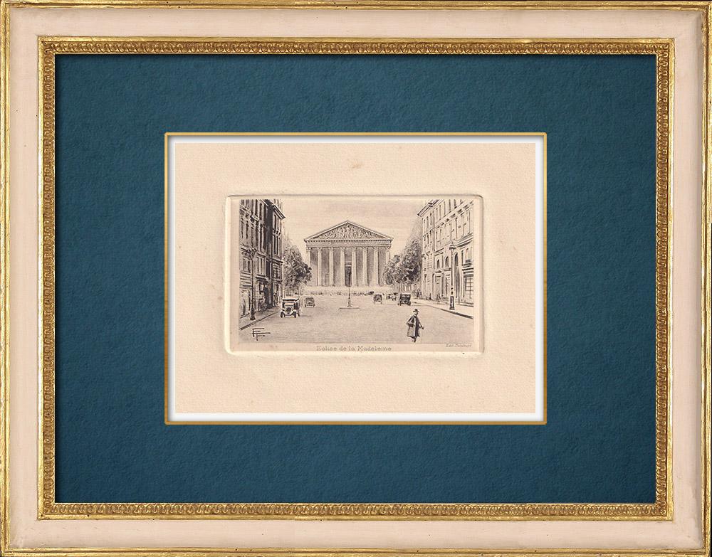 Gravures Anciennes & Dessins | Vue de Paris - Eglise La Madeleine | Gravure à l'eau-forte | 1910