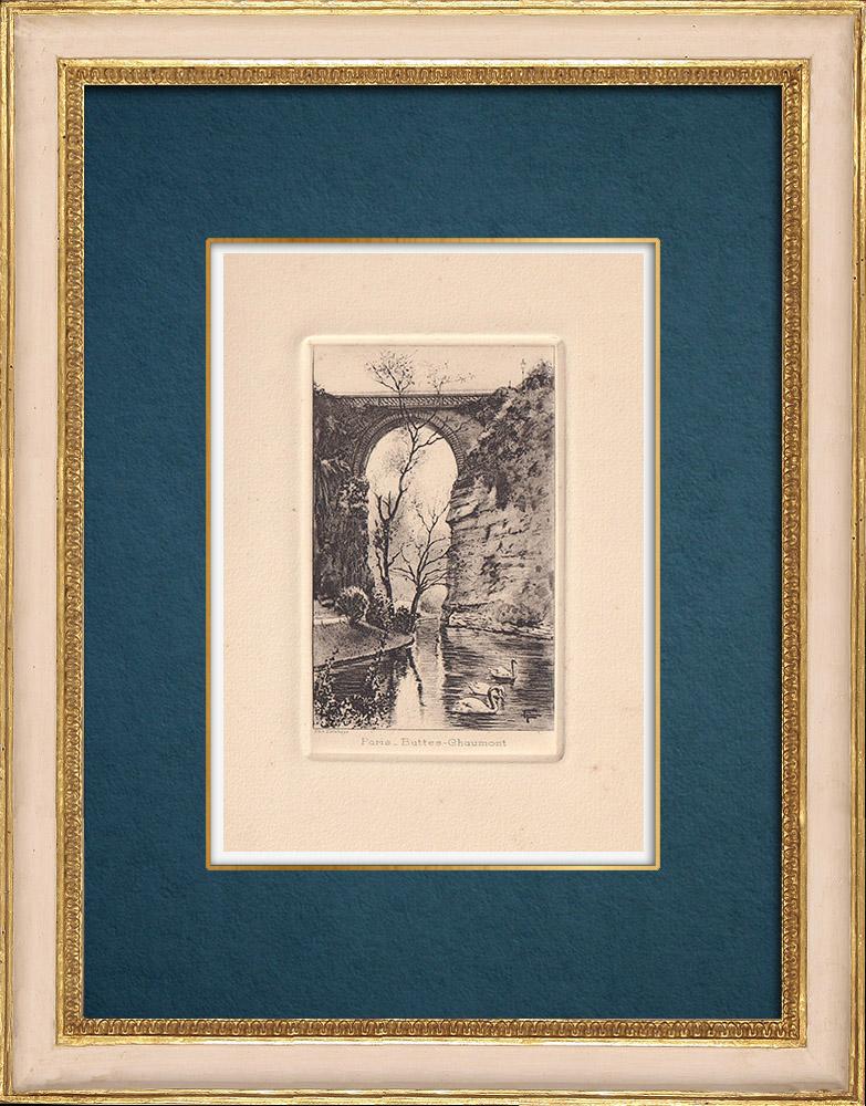 Gravures Anciennes & Dessins | Vue de Paris - Parc des Buttes Chaumont - Temple de la Sibylle - Lac | Gravure à l'eau-forte | 1910
