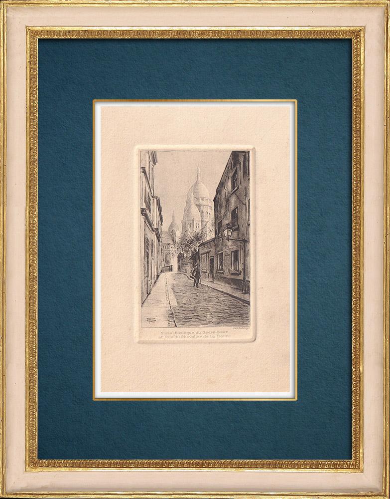 Gravures Anciennes & Dessins   Vue de Paris - Basilique du Sacré-Cœur - Butte Montmartre   Gravure à l'eau-forte   1910
